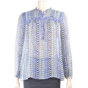 Lucky Brand top shirt SZ M semi sheer blue white b